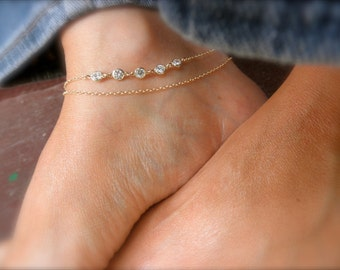 Gold Layered chain anklet with cz charms -  layered ankle bracelet - gold ankle bracelet - gold cz  ankle bracelet - zirconia anklet -