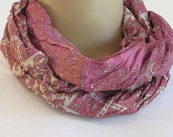 Silk Infinity Scarf, Silk Scarf, Summer Scarf, Neck scarf
