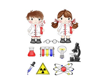 Science Clip Art - Mad Scientist  - Digital Clipart - PNG - JPG - Hand Drawn - Limited Commercial - Instant Download