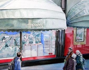 "Original Watercolor Painting: London Street Scene ""Harrod's Reflections of Switzerland"""