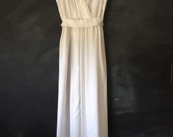 Vintage White Boho Maxi Dress with lace trim.