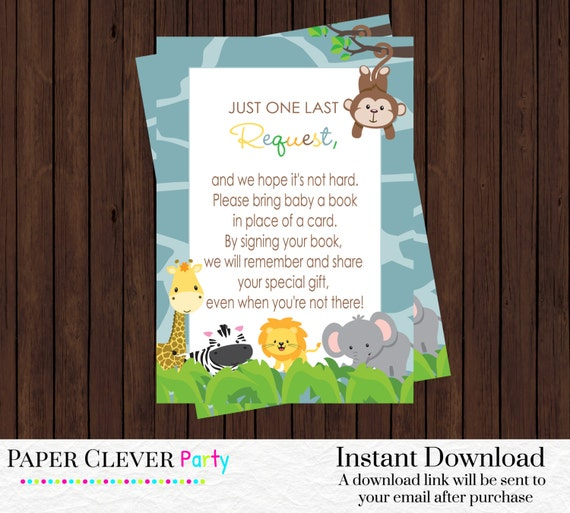 jungle bring a book baby shower insert cards boys modern safari