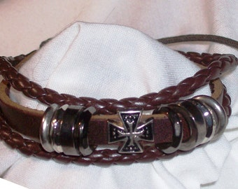 Bracelet/Men's 2 strand brown leather/1 half inch band/leather/cross/Free USA shipping only