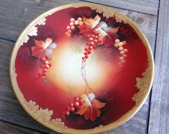 Antique Pickard China // Limoges Hand Painted Porcelain Plate Berries and Gold Artist Signed