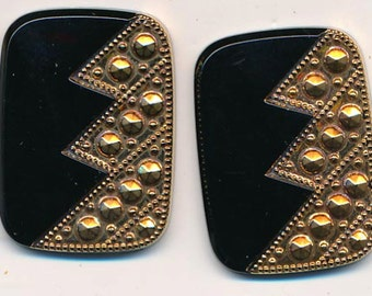 Four gorgeous vintage lucite flat-backed cabochons - textured gold and black - 26 x 19 mm