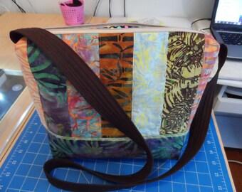 Shoulder Bag - Handmade Batik Bag - Modern  Bag - Quilted Zipper Bag - Diaper Tote Bag - Beach Tote Bag - Market Tote Bag