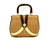 Vintage Natural Wicker Handbag Vtg Burgundy Purse Straw Hand Bag