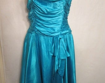 80's Teal Silky Party Dress