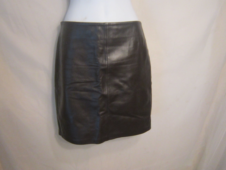 vintage soft brown leather mini skirt by vintageclothesla