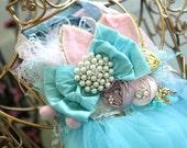 Spring has Sprung Easter Bunny Ear Headband Shabby Chic Inspired Pastel Headband