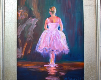 Original Oil Painting of Ballet Dancer / 11 x 14 / Fine Art Oil on Canvas / Pink Ballet Tutu Costume Fine Art Oil on Canvas