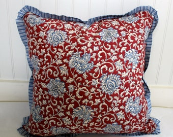 IN STOCK / Red and Blue Floral Pillow Cover / 18 x 18 / Denim Stripe Flange Trim