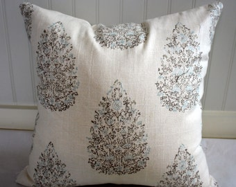 Cocoa Brown, Blue and Ivory Tree Pillow Cover / Designer Duralee fabric
