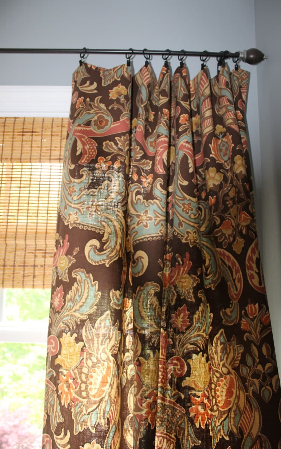 Kravet brown red gold and turquoise curtain by stitchandbrush - Brown and turquoise curtains ...