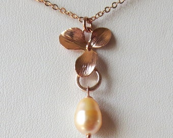 Rose Gold Flower and Peach Crystal Teardrop Pearl Pendant Necklace
