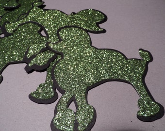 Green glitter and black poodles Birthday party, decor, wedding, scrapbooking , card making , emblishments