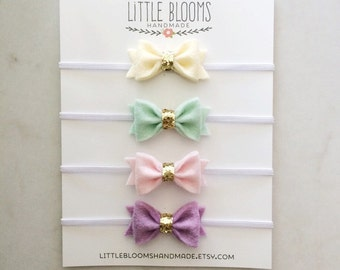 Tiny Felt and Glitter Bows - Bow Headbands or Hair Clips