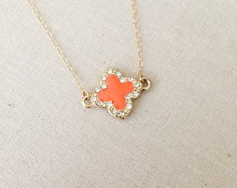CLEARANCE Coral Clover Gold Necklace, 14k Gold filled Chain, Good Luck Charm, Christmas Gift, Gift for Her