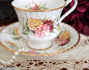 Paragon Carnations Teacup and Saucer, English Bone China Teacup Duo, ca. 1963-
