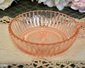 ON SALE Pink Depression Glass Queen Mary Handled Fruit Bowl, c. 1936-1948
