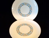 Vintage Canonsburg Pottery Atomioc Temporama Design Dinner Plates Set of 2 c1960s