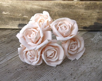 6 Sola Roses Stemmed Blush Pink Light Pink Sola Flower Set of 6 DIY Bride Mint Ivory