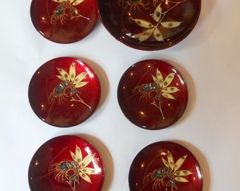Vintage Lacquer Bowls Mother of Pearl Inlay Crawfish Shrimp Bowl Seafood