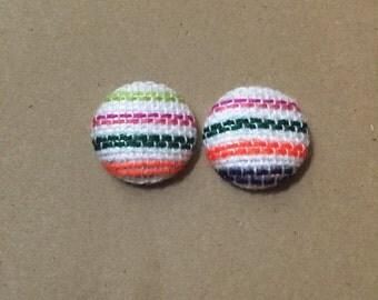 Serape Fabric Cover Button Earrings