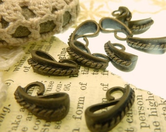 10 antique bronze bales with  rope design and bend in place  hook loop 20 mm long 7 mm wide large hole 4 mm small  3 mm hole