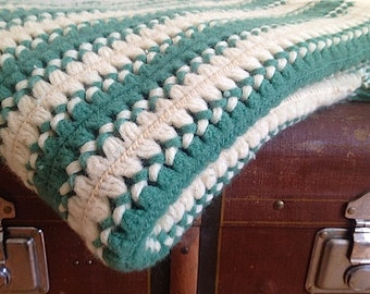 Chunky Handmade Afghan, Green Mid Century Blanket, Braided Striped Throw Blanket, Home Decor,  Crochet Small Blanket