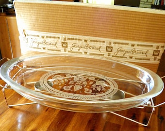 "1960's XL Georges Briard Silver Rim/Overlay Glass Server with Warmer--In Original Box--20"" L x 10-1/2"" W x 7"" H--GREAT Condition"