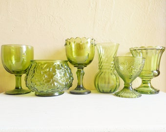 Instant Collection of Emerald Green Glass Dishes 6 Six Wedding Entertaining Lot