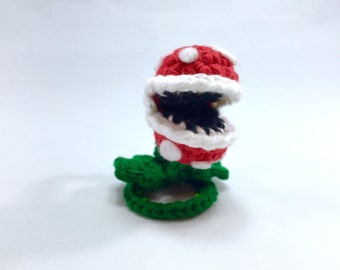 "Piranha Plant from Super Mario Bros Crocheted Mini Amigurumi Kawaii Keychain Miniature Doll ""Pod People"""
