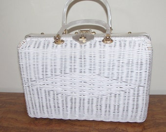 Large white vintage rattan woven straw handmade handbag with lucite handles made in Hong Kong for StyleCraft