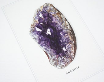 Amethyst Mineral Specimen Archival Print on Watercolor Paper