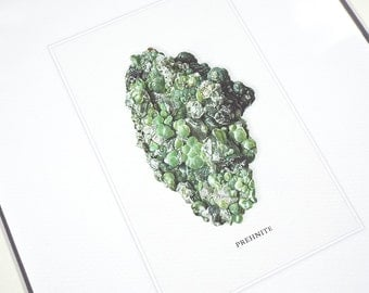 Prehnite Mineral Specimen Archival Print on Watercolor Paper