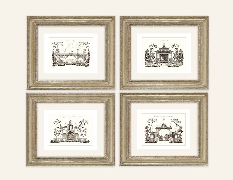 Set of 4 chinoiserie art architectural drawings in sepia for Printing architectural drawings