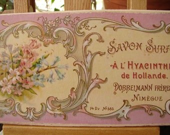 vintage French soap savon sign, pink Hyacinth soap advertising label on wood, shabby chic small gift