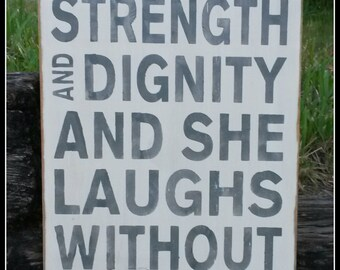 She Is Clothed In Strength And Digntiy, Proverbs Quotes, Nursery Decor, Baby Shower Gift, Distressed Signs, Wooden Signs