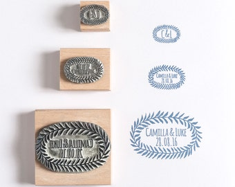 Wedding/Save the Date Rubber Stamp Leaf Oval Custom