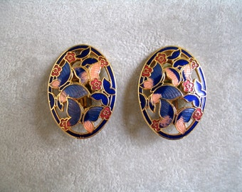 Sale! Vintage Clip On Earrings, Enamel and Gold, Butterfly and Flower Motif, 1980's