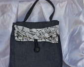 Denim Lunch Bag, Small Tote Bag or fun Purse Denim with Animal Print trim Button Tab Closure Bag Again