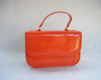 Fine Vintage Retro Orange Patent Leather Purse Mod 1960s 1980s 1950s handbag