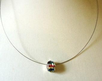 Necklace Single Stone Oval Iris Rainbow colour Glass Chaton Rhinestone pendant by JulieDeeleyJewellery on Etsy