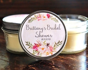 Set of 12 - 4 oz Bridal Shower Favor//Candle Favor//Rose Favor//Floral Wedding Favor//Rustic Wedding Favor//Soy Candle Favors