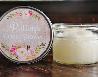 Set of 12 - 4 oz Bridal Shower Favor//Sugar Scrub Favor//Rose Favor//Floral Wedding Favor//Rustic Wedding Favor//Personalized Sugar Scrub