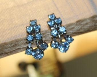 Vintage Ice Blue Rhinestone Screw Back Dangle Earrings