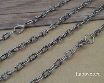 100pcs 24 inches (60cm) antique silver flat shape Link chain with Lobster clasp 4mmx7mm