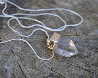 Energy. Beautiful Quartz Point Pregnancy Necklace.
