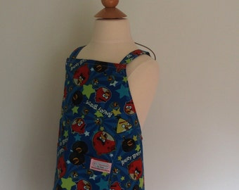 Angry Birds Apron, Boys Smock, Art Apron, Crossback Apron, Japanese Apron in Navy Blue, No Tie Apron, Adjustable